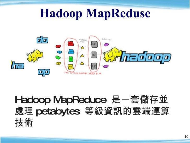 Hadoop MapReduse Hadoop MapReduce  是一套儲存並處理 petabytes  等級資訊的雲端運算技術