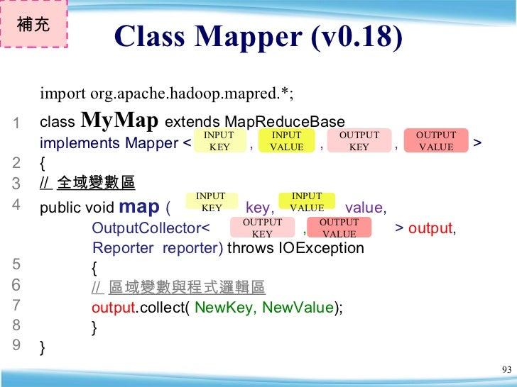 Class Mapper (v0.18) 補充 class  MyMap   extends MapReduceBase  implements Mapper <   ,  ,  ,  >  { //  全域變數區 public void  m...