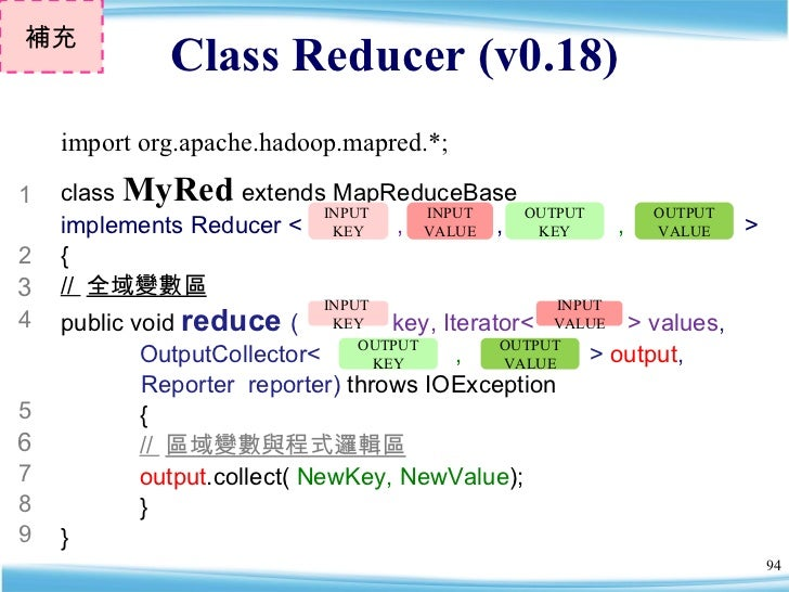 Class Reducer (v0.18) 補充 class  MyRed   extends MapReduceBase  implements Reducer <  ,  ,  ,  >  { //  全域變數區 public void  ...