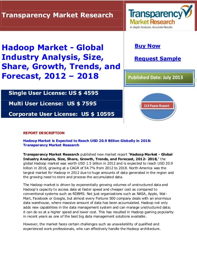 REPORT DESCRIPTION Hadoop Market is Expected to Reach USD 20.9 Billion Globally in 2018: Transparency Market Research Tran...