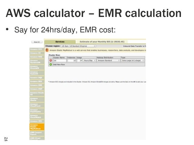 AWS calculator – EMR calculation • Say for 24hrs/day, EMR cost:  24