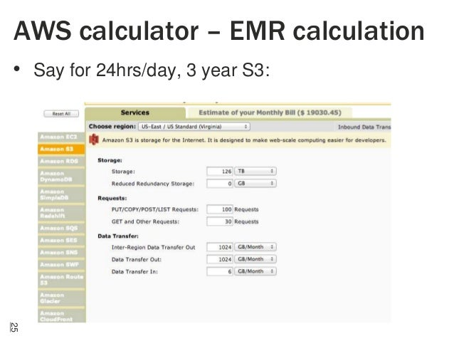 AWS calculator – EMR calculation • Say for 24hrs/day, 3 year S3:  25