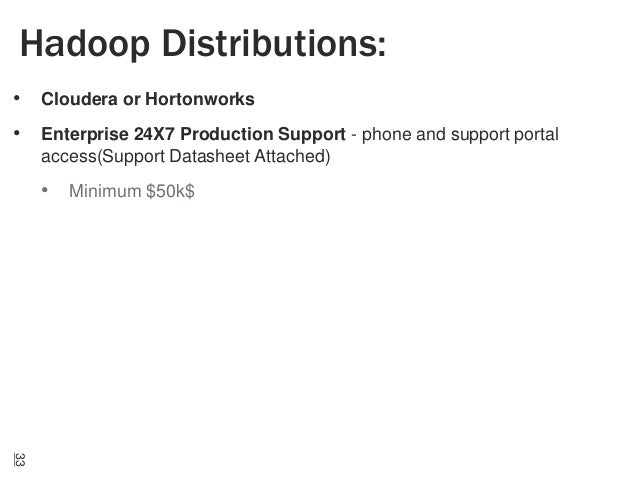 Hadoop Distributions: • Cloudera or Hortonworks • Enterprise 24X7 Production Support - phone and support portal access(Sup...