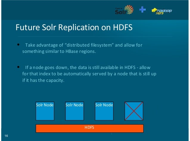 """16 Future&Solr&Replication&on&HDFS Take&advantage&of&""""distributed&filesystem""""&and&allow&for something&similar&to&HBase&reg..."""