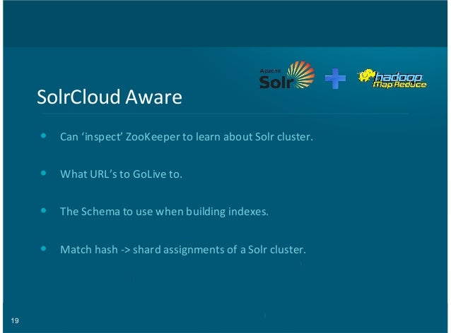 19 SolrCloud(Aware Can('inspect'(ZooKeeper(to(learn(about(Solr(cluster. What(URL's(to(GoLive(to. The(Schema(to(use(when(bu...