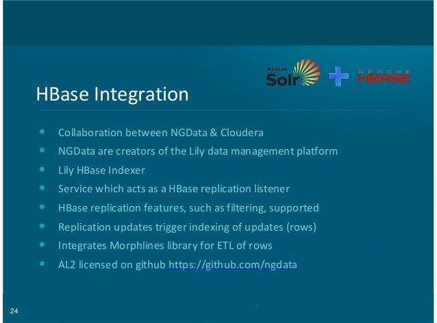 24 HBase&Integration Collaboration&between&NGData&&&Cloudera NGData&are&creators&of&the&Lily&data&management&platform Lily...