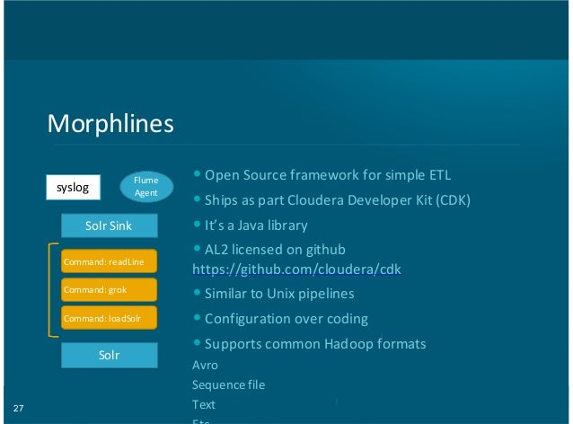 27 Morphlines syslog Flume Agent Solr3Sink Command:3readLine Command:3grok Command:3loadSolr Solr 3Open3Source3framework3f...