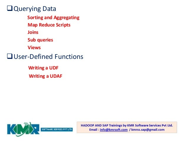 Hadoop Training By Kmr Software Services