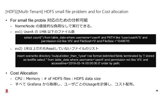 36 [HDFS][Multi-Tenant] HDFS small file problem and for Cost allocation • For small file proble 対応のための分析可能 • NameNode の直接的...