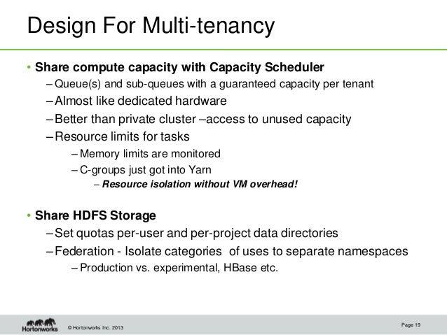 © Hortonworks Inc. 2013 Design For Multi-tenancy • Share compute capacity with Capacity Scheduler – Queue(s) and sub-queue...