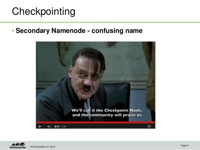 © Hortonworks Inc. 2013 Checkpointing • Secondary Namenode - confusing name Page 8