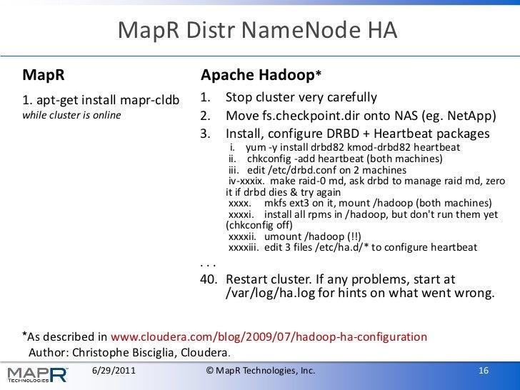 MapR Distr NameNode HAMapR                           Apache Hadoop*1. apt-get install mapr-cldb   1.    Stop cluster very ...
