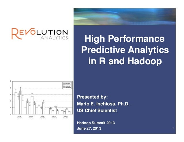 High Performance Predictive Analytics in R and Hadoop Presented by: Mario E. Inchiosa, Ph.D. US Chief Scientist Hadoop Sum...
