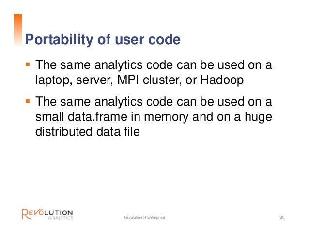 "Sample code for logit on Hadoop # Change the ""compute context"" rxSetComputeContext(myHadoopCluster) # Change the data sour..."
