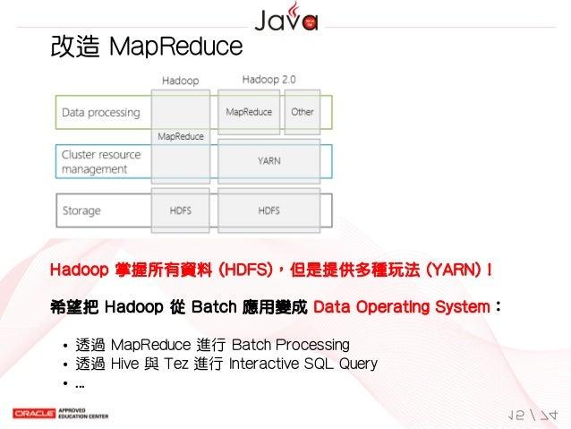 改造MapReduce Hadoop掌握所有資料(HDFS),但是提供多種玩法(YARN)! 希望把Hadoop從Batch應用變成DataOperatingSystem: 透過MapReduce進行BatchPr...