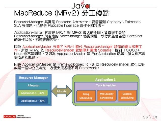 MapReduce(MRv2)分工優點 ResourceManager其實是ResourceArbitrator,要考量到Capacity、Fairness、 SLA等問題,也提供PluggableInterface實作不同...