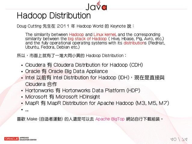 HadoopDistribution DougCutting先生在2011年HadoopWorld的Keynote說: ThesimilaritybetweenHadoopandLinuxkernel,and...