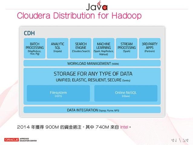 ClouderaDistributionforHadoop 2014年獲得900M的資金挹注,其中740M來自Intel。 41/74