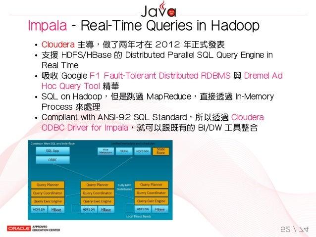 Impala-Real-TimeQueriesinHadoop Cloudera主導,做了兩年才在2012年正式發表 支援HDFS/HBase的DistributedParallelSQLQueryEnginei...