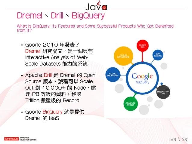 Google2010年發表了 Dremel研究論文,是一個具有 InteractiveAnalysisofWeb- ScaleDatasets能力的系統 ApacheDrill是Dremel的Open Source版...