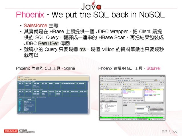 Phoenix內建的CLI工具-Sqlline Phoenix建議的GUI工具-SQuirrel Phoenix-WeputtheSQLbackinNoSQL Salesforce主導 其實就是在HBas...