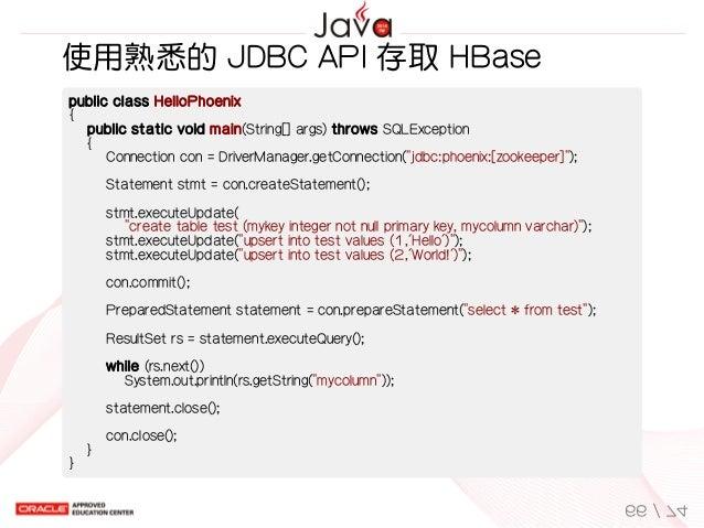 使用熟悉的JDBCAPI存取HBase publicclassHelloPhoenix { publicstaticvoidmain(String[]args)throwsSQLException {...