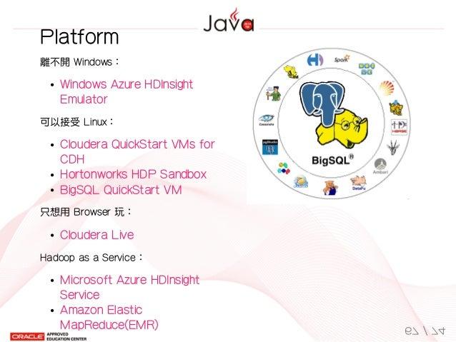 離不開Windows: WindowsAzureHDInsight Emulator 可以接受Linux: ClouderaQuickStartVMsfor CDH HortonworksHDPSandbox BigSQLQ...