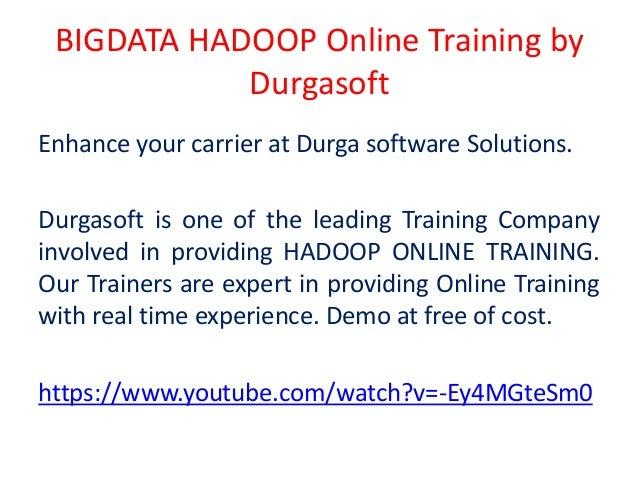 BIGDATA HADOOP Online Training by Durgasoft, Hyderabad