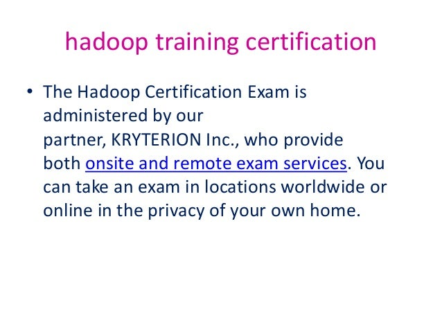 Hadoop training certification