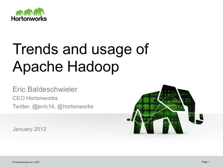 Trends and usage ofApache HadoopEric BaldeschwielerCEO HortonworksTwitter: @jeric14, @hortonworksJanuary 2012© Hortonworks...