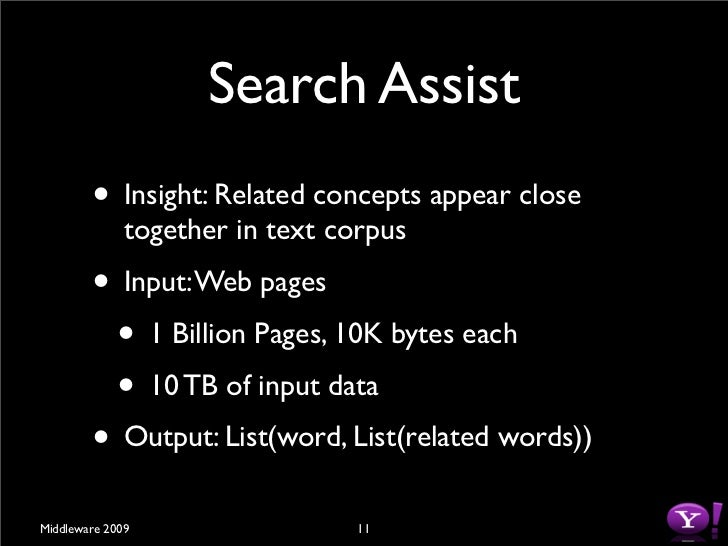 Search Assist         • Insight: Related concepts appear close               together in text corpus         • Input: Web ...