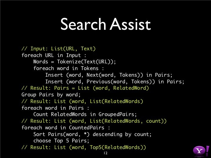 Search Assist // Input: List(URL, Text) foreach URL in Input :     Words = Tokenize(Text(URL));     foreach word in Tokens...