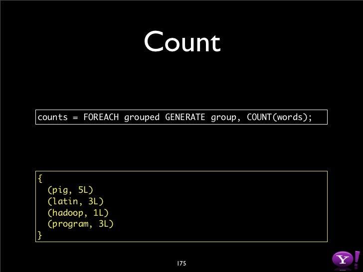Store  store counts into '/user/milindb/output'       using PigStorage();      pig       5  latin     3  hadoop    1  prog...