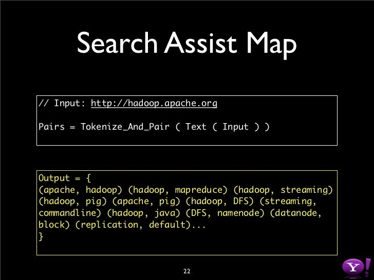 Search Assist Map // Input: http://hadoop.apache.org  Pairs = Tokenize_And_Pair ( Text ( Input ) )     Output = { (apache,...