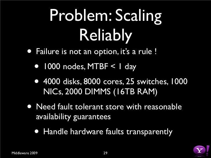 Hadoop Goals         •     Scalable: Petabytes (1015 Bytes) of data on               thousands on nodes         • Economic...