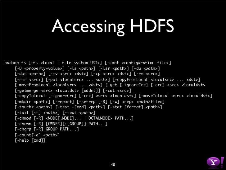 HDFS Java API // Get default file system instance fs = Filesystem.get(new Configuration());  // Or Get file system instanc...