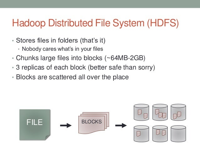 Hadoop Distributed File System (HDFS) • Stores files in folders (that's it) • Nobody cares what's in your files • Chunks l...