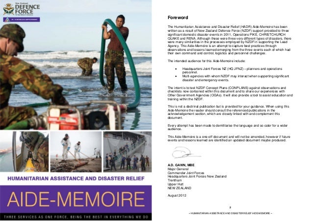 Foreword                                                               The Humanitarian Assistance and Disaster Relief (HA...
