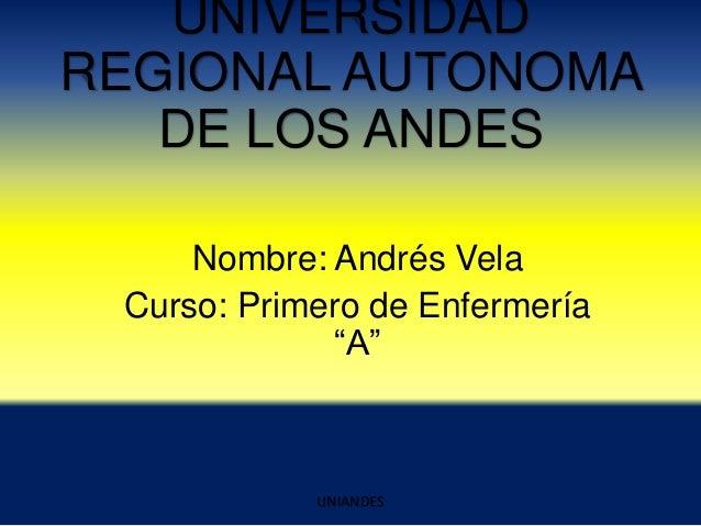 """UNIVERSIDAD REGIONAL AUTONOMA DE LOS ANDES Nombre: Andrés Vela Curso: Primero de Enfermería """"A""""  UNIANDES"""