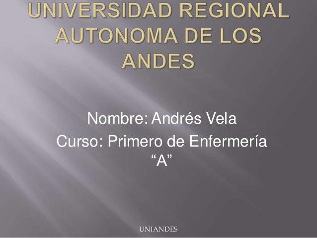 "Nombre: Andrés Vela Curso: Primero de Enfermería ""A""  UNIANDES"