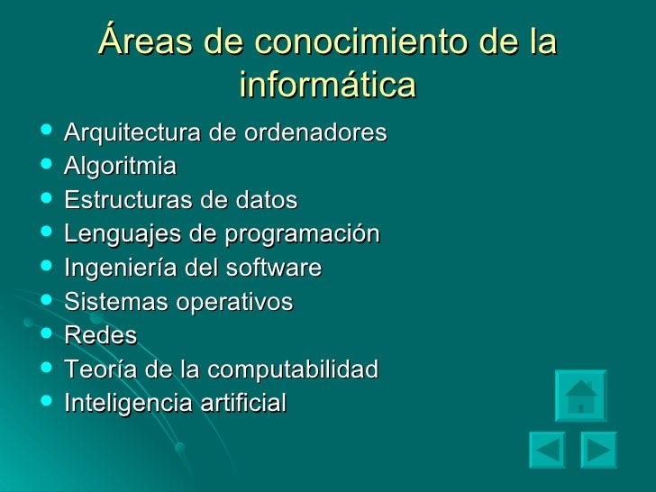 Áreas de conocimiento de la informática <ul><li>Arquitectura de ordenadores </li></ul><ul><li>Algoritmia </li></ul><ul><li...