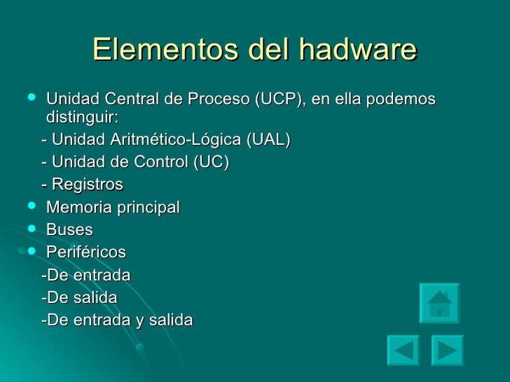 Elementos del hadware <ul><li>Unidad Central de Proceso (UCP), en ella podemos distinguir: </li></ul><ul><li>- Unidad Arit...