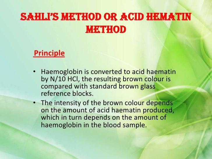 haemoglobin estimation by sahlis method