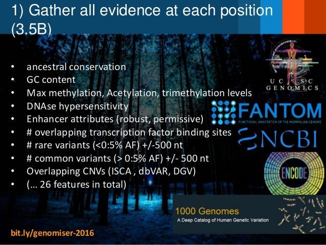1) Gather all evidence at each position (3.5B) • ancestral conservation • GC content • Max methylation, Acetylation, trime...