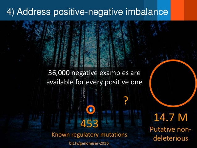 4) Address positive-negative imbalance 14.7 M Putative non- deleterious 453 Known regulatory mutations ? 36,000 negative e...