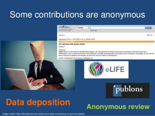Some contributions are anonymous Data deposition Image credit: http://disruptiveviews.com/is-your-data-anonymous-or-just-e...