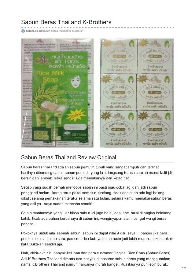 Hafaza Co Id Sabun Beras Thailand K Brothers