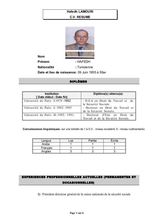 Hafedh LAMOURI C.V. RESUME  Nom  : LAMOURI  Prénom  : HAFEDH  Nationalité  : Tunisienne  Date et lieu de naissance: 09 Jui...
