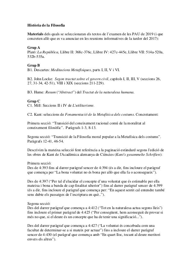 Història de la Filosofia Materials dels quals se seleccionaran els textos de l'examen de les PAU de 2019 (i que concreten ...