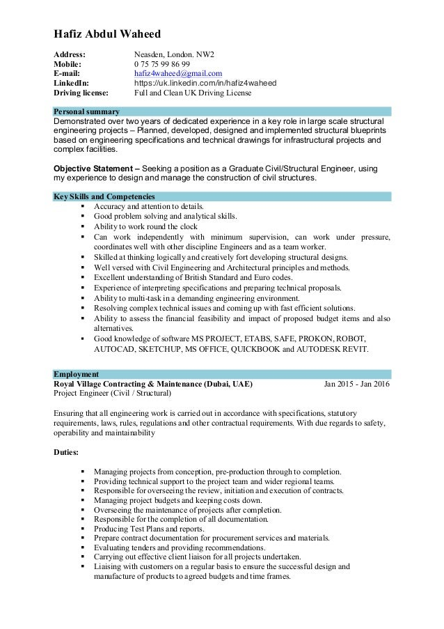 hafiz a waheed structure engineer cv
